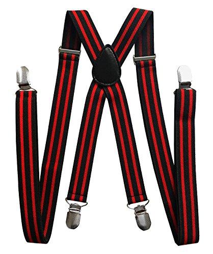 axy Hochwertige Herren Hosenträger Breit 2,5 cm mit 4 Starken Clips X-Form und Damen (Schwarz-Rot Streifen)