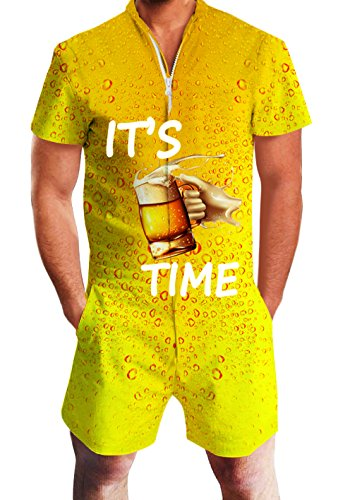 chicolife Herren Strampler Overall Herren Zip up 3D Cooles Cartoon Grafik Designer Onesie Jumpsuit Strampelanzüge Strampler Overall Anzug mit Kurze ärmel Overalls Kurze Hose Rompers S-XL (Nummer Eins Onesies)