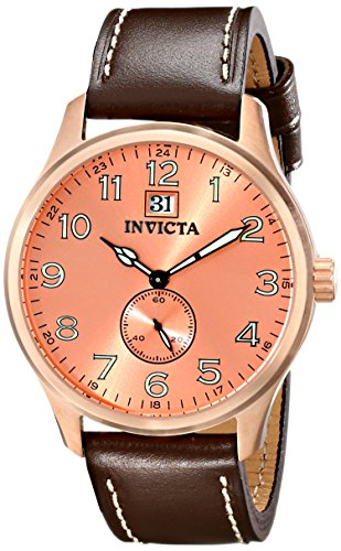 Invicta Men's 44mm Brown Calfskin Band Steel Case Quartz Rose Gold-Tone Dial Analog Watch 15515