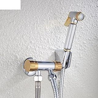 WP Toilet Spray Gun Kit/All Copper Angle Valve Toilet Flushing Gun Multifunction/Titanium Bidet/Shower Flusher-A
