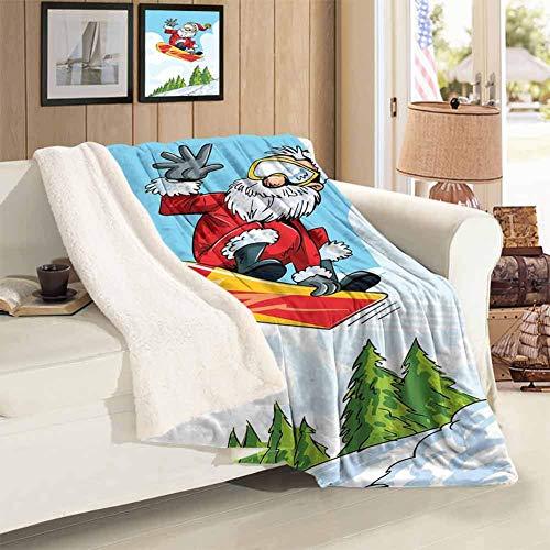 Kpaoaz verdickte Lamm-Decke aus Kaschmir, multifunktionale Decke, Cartoon-Stil, Weihnachtsmann springt auf Snowboard, schneebedeckte Berge und Kiefernbäume, Mehrfarbig, 121,9 x 152,4 cm