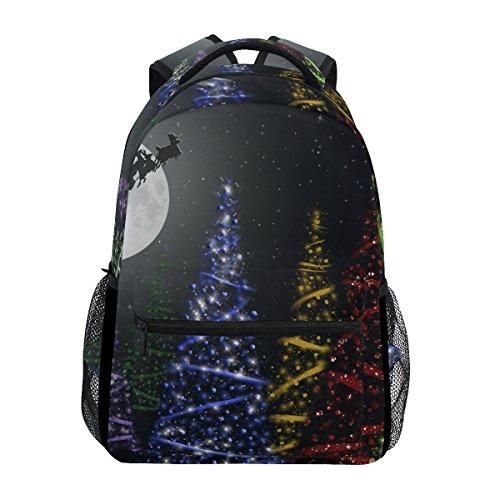 TIZORAX Colorful Weihnachten Bäume in MOONIGHT Rucksack Schulranzen Segeltuch Wandern Reise Rucksack (Bäume Weihnachten-mesh Für)