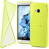 Cover di protezione HTC One M7 Custodia Case silicone sottile 0,7mm TPU | Accessori Cover cellulare protezione | Custodia cellulare Paraurti Cover Traslucida Trasparente ACID-YELLOW - Arancione 7 Piatti Di Plastica