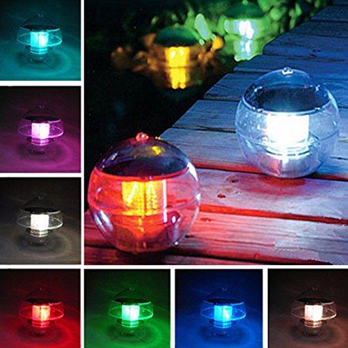 Solar Gartenleuchte Schwimmkugel mit LED Beleuchtung Farbwechsel Automatisch Solarlampe ABS-Kunststoff für Teich Swimmingpool 2er Set(Pack 2)