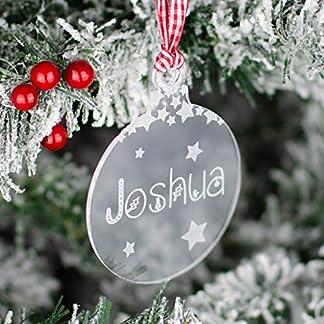 Abalorio rústico para árbol de Navidad de acrílico Transparente Personalizable Bola de Regalo con Nombre Grabado para niños, diseño de Estrellas Decoradas
