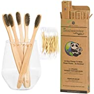 BAMBOOGALOO Premium Bamboo Toothbrushes   5 Pack with FREE Bamboo Cotton Buds   Handmade Organic Natural Wooden Toothbrush   Soft Charcoal Bristles   Biodegradable Plastic Free Box, Eco-Friendly Gifts
