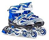 HS HOP-SPORT Hop-Sport 3in1 Inliner Inlineskates/Roller/Triskates für Kinder/Verstellbar/Farbe Weiß-Blau - M 34-38