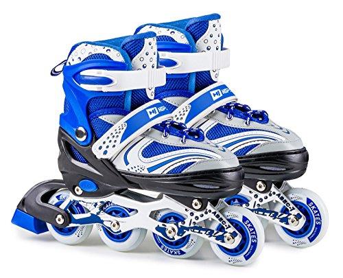 Hop-Sport 3in1 Inliner Inlineskates/Triskates für Kinder/Roller/Verstellbar/Farbe Weiß-Blau - S 30-33