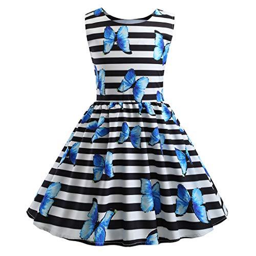 Livoral Mädchen Ballettröckchen Junge Kinder ärmellose Print Prinzessin Party Beauty Dress(Hellblau,110) -