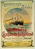Mini-Blechschild Hamburg-Cuxhaven-Helgoland, 8 x 11 cm