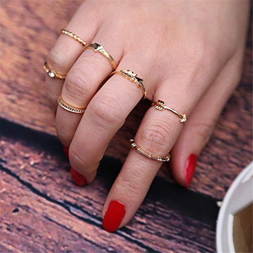 Yesiidor Joint Knuckle Ring Retro Pfeil Twist dünnen Ring Set Vintage stapelbar Ring (Knuckle-ringe-pfeil)