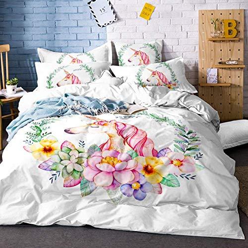 Soefipok Cartoon Bettbezug-Set, Mythisches Einhorn mit olivgrüner Blumenhalskette Rosa Haar Dekoratives 3-teiliges weißes Bettwäscheset für Mädchen, Kinder, Kinder mit 2 Kissenbezügen