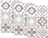 infactory Design-Fliesenfolie: Selbstklebende 3D-Bordüre-Fliesenaufkleber, 29,5 x 19,5 cm, 3er-Set (Wandverblender-Aufkleber)