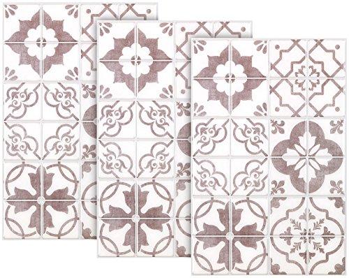 infactory Fliesen-Sticker: Selbstklebende 3D-Bordüre-Fliesenaufkleber, 29,5 x 19,5 cm, 3er-Set (Fliesenabziehbilder)