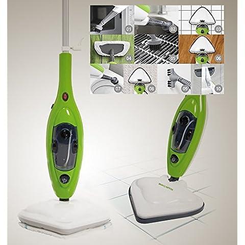 Bravo Nippon - Mopa eléctrica de vapor, con muchos accesorios y paños incluidos. Ideal para el baño, la cocina, alfombras y azulejos. Higieniza y limpia en profundidad, mopa a vapor