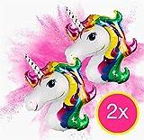 2x XXL Einhorn 110 x 85 cm Folienballon Heliumballon Luftballon Luftballons Helium Luft Unicorn Helium Ballon Luftballon Mitgebsel Kindergeburtstag Deko Dekoration Geburtstag Party Jungen Mädchen