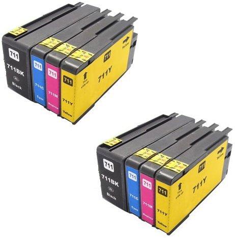 Printing Pleasure 8 XL Druckerpatronen für HP Designjet T120, T520   Ersatz für HP 711XL CZ129A, CZ130A, CZ131A, CZ132A (Hp Designjet 120)