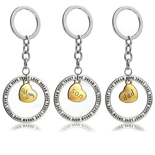 3Mom Dad Son Gold Love Herz, rund Trust Love Hope Dream Charm Schlüsselanhänger Ring Set Familie Geschenk