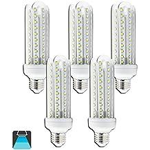 Aigostar - Confezione da 5 Lampadine LED B5 T3 4U, 15W, Attacco Grande E27, 1200 lumen, Luce Bianca 6400K [ClassediefficienzaenergeticaA+]