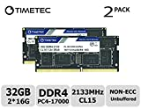 Timetec Hynix IC DDR4 2133MHz PC4-17000 Unbuffered Non-ECC 1.2V CL15 2Rx8 Dual Rank 260 Pin SODIMM Computer Portatile Memorie Module Upgrade (32GB(16GB x2))