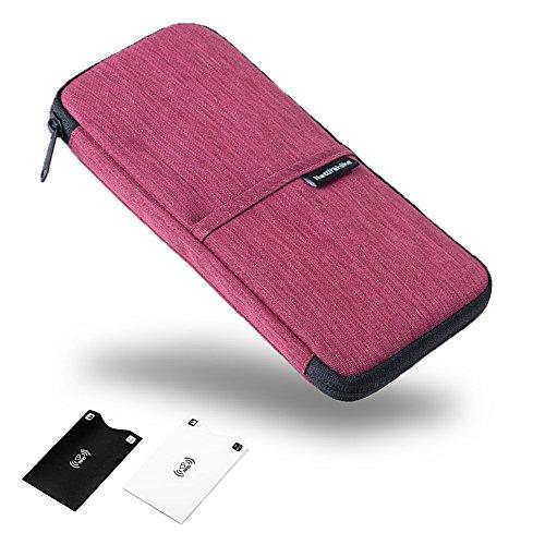 Reise-Brieftasche Reisepass-Halter langlebig wasserdicht Organizer mit Handschlaufe für Familien-Dokumente Karten-Blütenrot (Schlüssel-halter Für Die Handtasche)