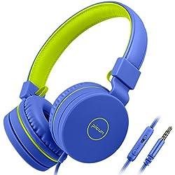 Auriculares, homga Infantil Auriculares 3.5mm con micrófono, Audio Auriculares Infantiles Plegable para Smartphones Tablets y MP3/4, Auriculares para niños