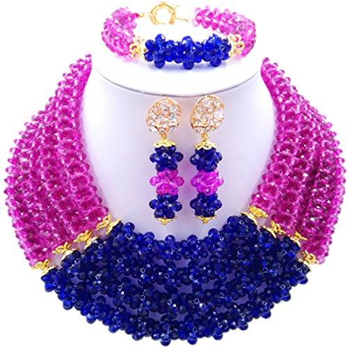 Laanc Naturel Cristal Bijoux Définit 4rows 45,7cm Collier du Nigeria Mariage africain Bracelet de perles Boucles d'oreilles bleu/violet