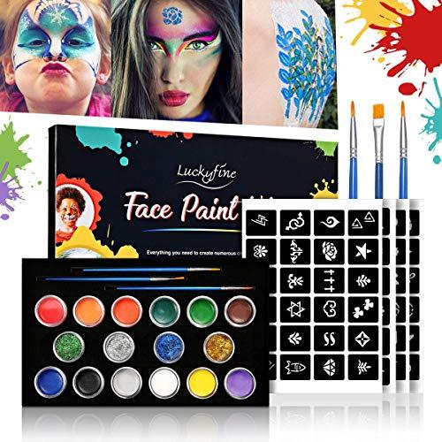 Gesicht & Körper Schminke Set, Luckyfine Face Painting Kit für Kinder und Erwachsene, Halloween Karneval Make-up Gesichtsfarbe Bodypainting, Ideal für Partys & Festival usw, Schminke Körperfarben