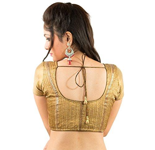 Intrigue Golden shimmer seqiuns handwork blouse