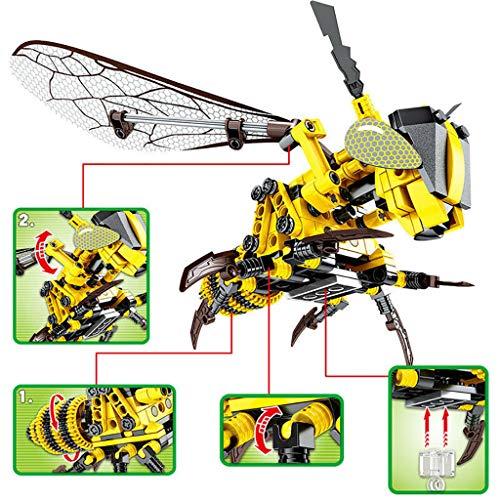 Mitlfuny Kinder Erwachsene Entwicklung Lernspielzeug Bildung Spielzeug Gute Geschenke,Simulierte Insekten-Bienen-rote Libellen-Baustein-Ziegelstein-pädagogische Spielwaren (450 3d Hubschrauber)