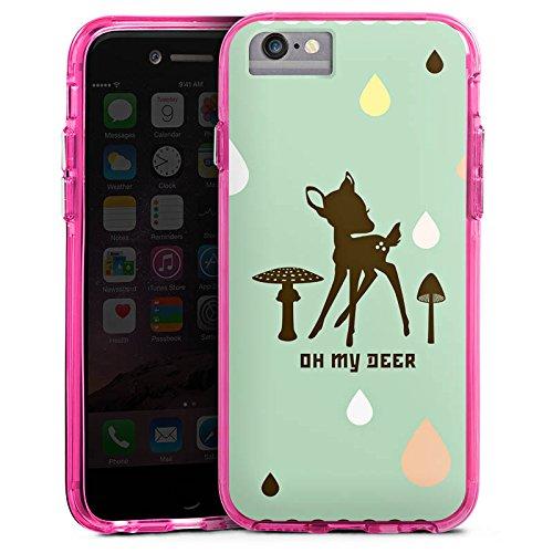 Apple iPhone 6 Bumper Hülle Bumper Case Glitzer Hülle Oh My Deer Bambi Deer Bumper Case transparent pink