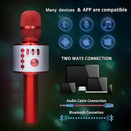 Bluetooth Karaoke Mikrofon, NASUM,tragbare drahtlose Mikrofon mit Lautsprecher für Erwachsene und Kinder für Sprach- und Gesangsaufnahmen,kompatibel mit Android /IOS, PC oder Alle Smartphone - 5