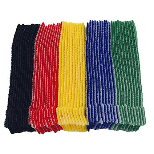 Farbig Klett Kabelbinder Band Wiederverwendbare Nylon klettverschluss Selbstklebend Klettband für PC TV USB Netzwerkkabel, 50 Stück