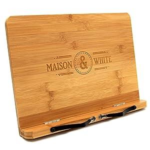Maison & White Bambus Bücherständer   Einstellbarer Kochbuchlesehalter   Holzküche Buchstütze   2 Metallseitenrezepthalter   Stabil Robust & Haltbar