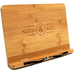 Maison & White Support de livre en bambou | Porte-livre de lecture réglable | Repose livre en bois | 2 porte-recettes en métal | Stable Robuste & Durable