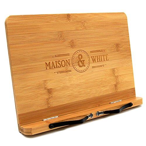 Maison & White Bambus Bücherständer | Einstellbarer Kochbuchlesehalter | Holzküche Buchstütze | 2 Metallseitenrezepthalter | Stabil Robust & Haltbar