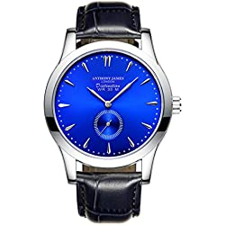 New Limited Edition Anthony James Blue Distinction Leather Strap Mens Quartz Wrist Watch