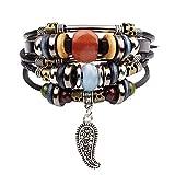 ZXMPGSZ Tressé Bijoux Chaîne Bracelet en Cuir De Gland De Perles pour Les Hommes Hommes Bracelets Et Bracelets Bijoux Bracelet À Lacets en Métal, comme Image