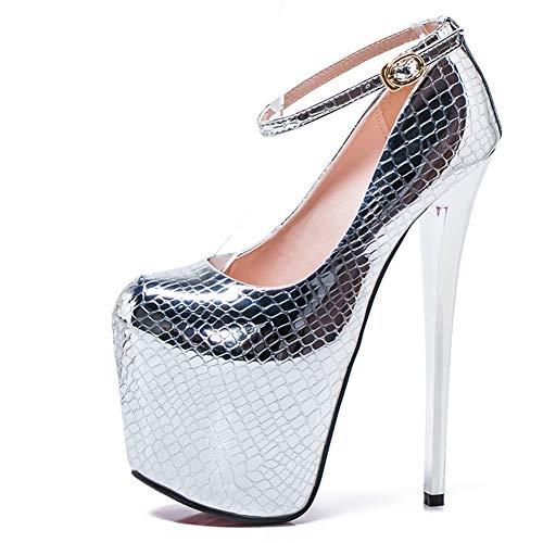 Liuxm Super High Heel für Damen Stiletto Pumps mit Stiletto Absatz Slip On Platform Closed Toe Hochzeit Party Schuhe,Silver,45 Stiletto High Heel