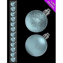 12 x 3cm Mini Natale Baubles - BABY BLUE - ICE BLUE - assortiti Matt + Glitter