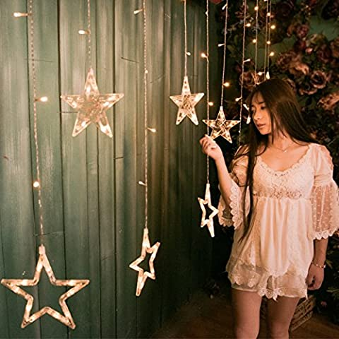 LED Curtain Star Lights MEJOY Window Lights Fairy String Lights With 12 Stars 138pcs LED Christmas lights Fairy String Lights For Party Wedding Garden Decorations, Voltage 220V, Waterproof Lamp Beads