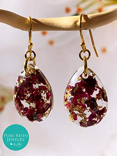 Merlot - Pendientes de pétalos de rosa reales, pendientes de gota de agua de oro de 14 k, joyería botánica hecha a mano, pendientes colgantes de flores, regalo único para ella - ER64