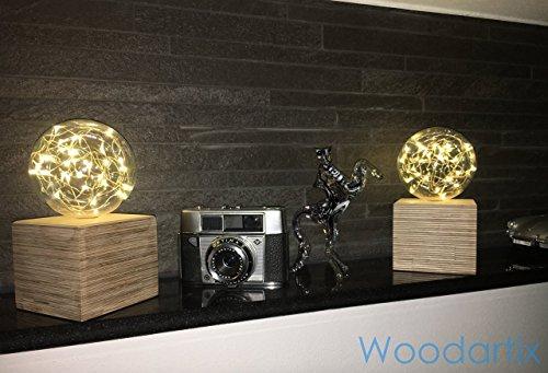 Beleuchtete Glaskugel mit Holzkubus Stimmungslicht Ambiente Design Handgefertigt Natur zur Dekoration für jeden Anlass Batteriebetrieben Weihnachtsbeleuchtung Weihnachtsdeko [Energieklasse A++]