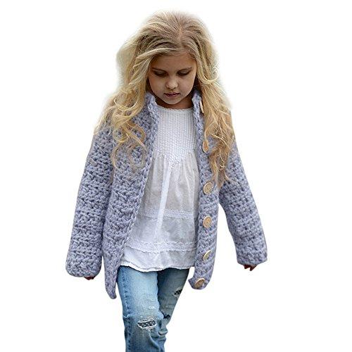 (Yanhoo Kinderkleidung, Kindermode Baby Mädchen Wintermantel Einfarbig Karierter Gestrickte Pullover Pulli Winterjacke Strickjacke Mantel Tops Outwear (120, Violett))