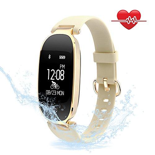 Foto de Mujeres Pulsera Deportiva Inteligente de Actividades Fitness Tracker Impermeable IP67 Monitor de Pulso Cardiaco Bluetooth con Contador de Calorias y Pasos/Monitor de Sue?o/Reloj para iOS y Android (Oro)
