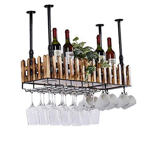 Haushalt Wand Wein Glas Halter Holz Weinregal Bar Weinglas Halter Hängelampe Massivholz Becher Rack (Größe : 80cm) (Holz-wein-glas-wand Rack)