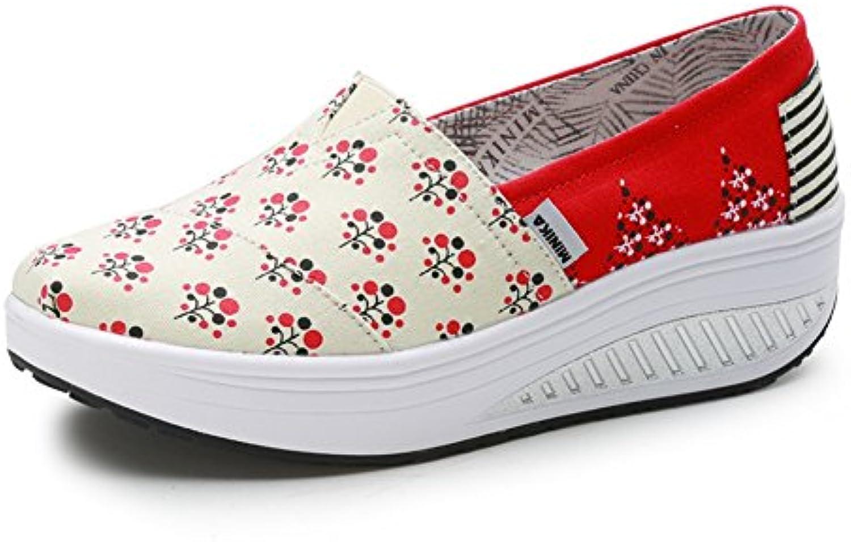 LFEU Zapato de Moda Compensado Sin Cordones Lienzo Zapatillas Creepers Punk Moda Resistencia 35-40(Recomendar...