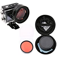 Hzjundasi 58mm Primer Plano 16X Ampliación para SJCAM SJ6 Legend Action Cámara, HD Macro de Primer Plano Filtro Lente 16X Ampliación + Rojo Filtro Accesorios