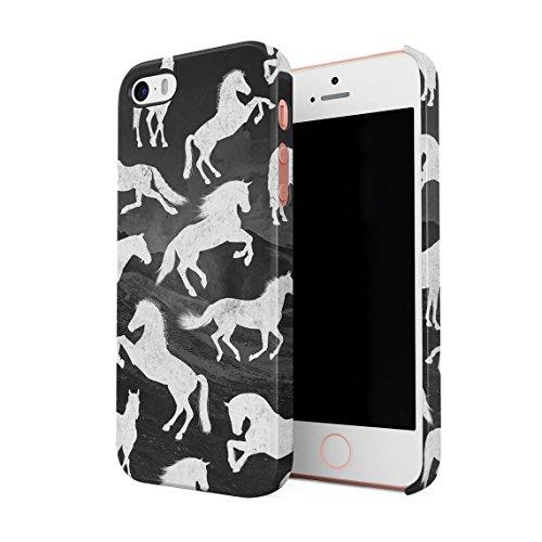 Wild Horse Mustang (Weiß Wild Mustang Horse Wildlife Pattern Dünne Rückschale aus Hartplastik für iPhone 5 & iPhone 5s & iPhone SE Handy Hülle Schutzhülle Slim Fit Case Cover)