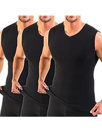 HERMO 3050 Lot de 3 Business Shirt Homme avec col V, Maillot de corps en 100% coton d'Europe (Tank Top)